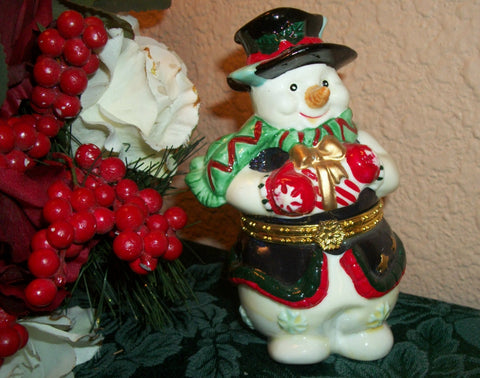 Hand Painted Ceramic Snowman Trinket Box Ring Keeper Collectible Figurine Vintage Christmas Holiday Decoration