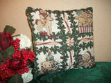 Accent Pillow Christmas Teddy Bears Green Garland Red Gold Tapestry Vintage Home Decor