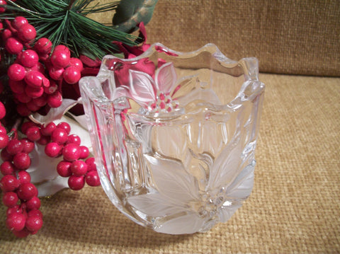 Mikasa Candle Holder Poinsettia Christmas Flower Clear and Frosted Glass Heavy Art Glass Vase Mood Lighting Vintage Collectible Home Decor
