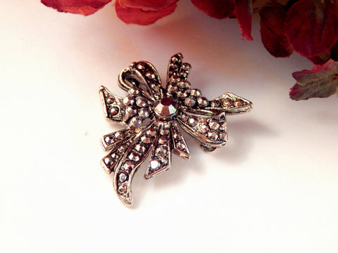 Bow Brooch Holiday Jewelry Coat Pin Silver Studded Metal Vintage 1940's WWII Era Fashion Jewelry