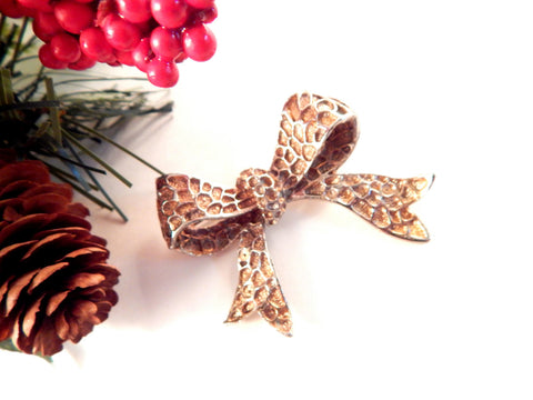 Bow Brooch Textured  Pressed Metal Holiday Ribbon Coat Pin Collectible Vintage 1950's Fashion  Jewelry