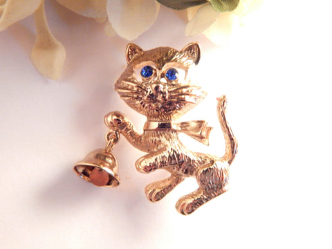 Cat with Dinner Bell Brooch Avon Signed Jewelry Vintage Pin Gold Metal Kitten with Blue Rhinestone Eyes Fun Playful Cat Gift