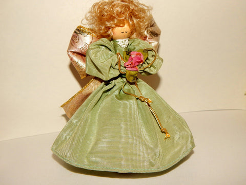 Angel Figurine Green Gold and Pink Fabric Doll Vintage Home Decor  Giftware Christmas Decoration
