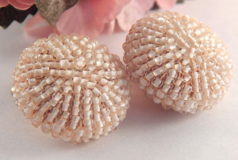 White Seed Bead Cluster Clip On Earrings Elegant Formal Bridal Beaded Vintage Fashion Jewelry