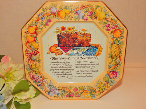 Blueberry Nut Bread Recipe Metal Serving Tray Christmas Wall Hanging Plate Vintage Avon 1982 Tin Platter Holiday Home Decor Made in England