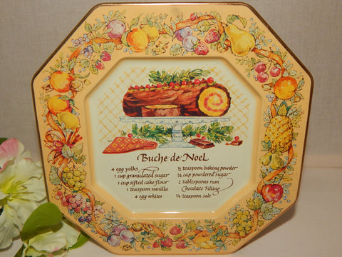 Buche de Noel Recipe Metal Serving Tray Christmas Wall Hanging Plate Vintage Avon 1982 Tin Platter Holiday Home Decor Made in England