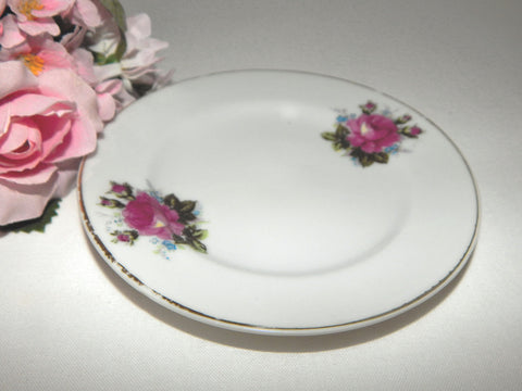 Porcelain Plate Pink Rose Saucer Butter Dish Mint Tray Romantic Floral Cottage Shabby Vintage Serving Tableware