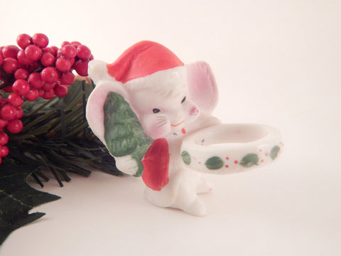 Christmas Mouse Taper Candle Climber White Ceramic Mice Vintage Figurine Winter Holiday Home Decor
