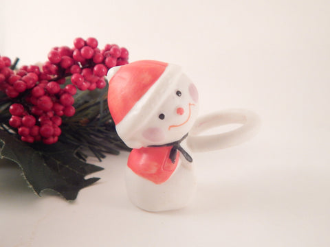 Snowman Taper Candle Climber White Ceramic Vintage Christmas Figurine Winter Holiday Home Decor