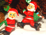 Santa Claus Figurines Three Miniature Antique Celluloid Christmas Home Decor Craft Supply Vintage Collectible