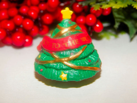 "Christmas Tree Ornament Joy To The World Banner Resin Miniature  1"" Holiday Home Decoration Craft Supply"