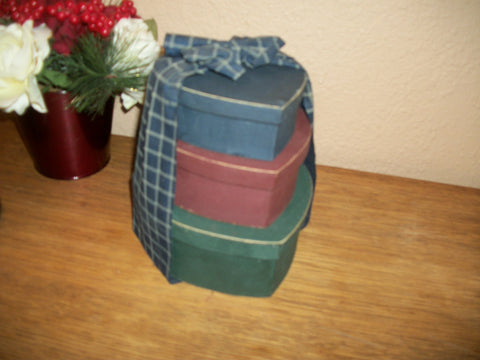 Nesting Box Set Three Heart Shaped Stackers Red Blue Green Plaid Fabric Bow Covered Storage Vintage Home Decor
