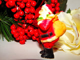 Santa Claus Tree Ornament Vintage Enesco Collectible Free Standing Mniature Figurine Christmas Decoration