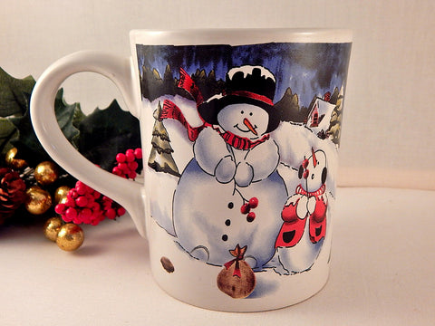 Snowman Snow Child Mug Ceramic Tableware Vintage Christmas 19 Oz Hot Cold Beverage or Soup Serving Cup Winter Home Decor