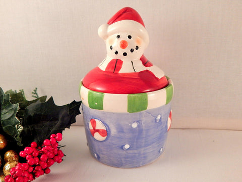 Snowman Candy Dish Trinket Box Covered Sugar Bowl  Jam Jar Vintage Royal Norfolk Ceramic Crock Christmas Winter Tableware Home Decor