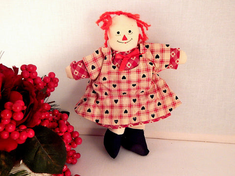Americana Rag Doll Red White Blue Raggedy Ann Style Vintage Country Home Decor