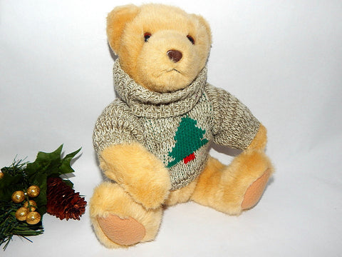 "Hallmark Collectible Christmas Teddy Bear 11"" Beige Stuffed Plush With Knit Sweater Vintage  Holiday Decoration"
