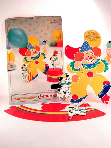 Clown and Dog Centerpiece Children's Birthday Party Decoration Vintage Hallmark Chuckles and Spot Circus Party Balloon Holder