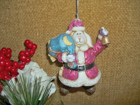 White Rabbit Santa Claus Ceramic Bell Christmas Ornament Dangle Leg Bunny Holiday Home Decor