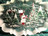 "Mikasa Serving Platter Clear Frosted Glass Tray Christmas Winter Landscape17"" Oval Platter Holiday Entertaining Christmas Gift New in Box"