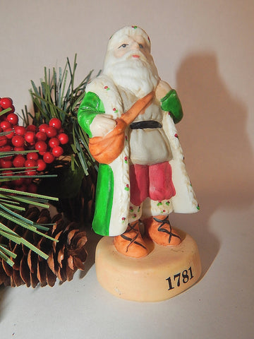 Santa Claus Figurine Vintage Russ Berrie Collectible Hand Painted Porcelain 15229 Old World Father Christmas Home Decor