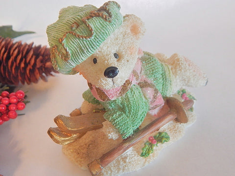 Teddy Bear Figurine Snow Skiing Polar Bear Pastel Pink and Green Resin Christmas Figurine Winter Holiday Home Decor