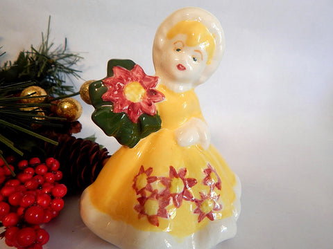 Victorian Woman Figurine Vintage 1960's Ceramic Girl Poinsettia Flower Yellow Dress Winter Village Christmas Home Decor December Gift