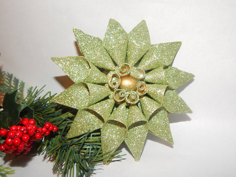 Star Flower Christmas Tree Ornament Glittery Green Handcrafted Palm Frond Holiday Home Decor