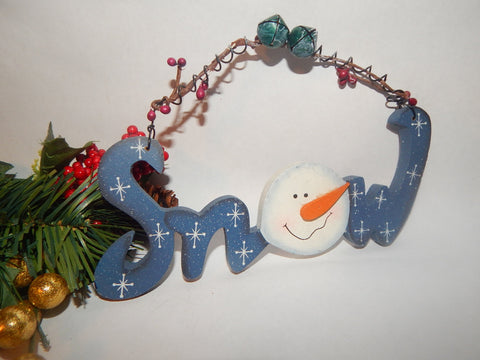 Snow Sign Wall Hanging Snowman Christmas Tree Ornament Wooden Script Hand Painted Blue and White Rustic Curly Wire Winter Holiday Home Decor