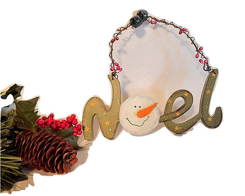 Noel Sign Wall Hanging Snowman Christmas Tree Ornament Wooden Script Hand Painted Green and White Rustic Wire Winter Holiday Home Decor