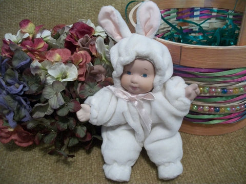 Porcelain Baby Doll Wearing White Easter Bunny Costume Feet Pajamas Hoodie Snowsuit Easter or Doll Collector and Spring Home Decor