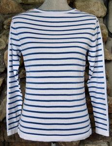 Narrow Stripe Boatneck Sweater White Azure