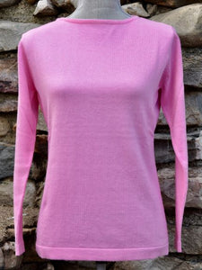 Pima Cotton Boatneck Sweater Rose Pink