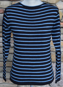 Narrow Stripe Boatneck Sweater Black and Ocean Blue