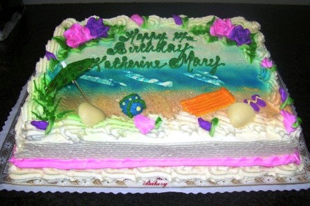 Beach Birthday Cake (B17) - Reinwald's Bakery - 1