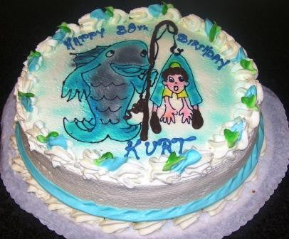 Fishing Birthday Cake (B23) - Reinwald's Bakery