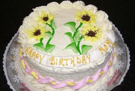 Sunflower Birthday Cake (B36) - Reinwald's Bakery