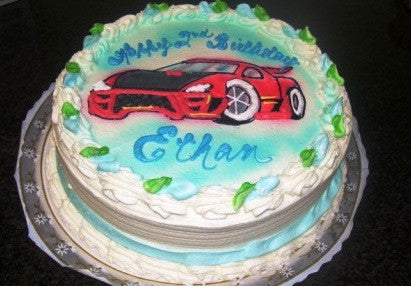 Race Car Birthday Cake (B54) - Reinwald's Bakery