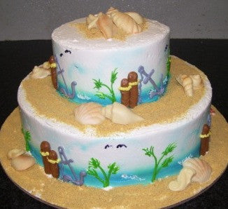 Beach Theme Tiered Cake (TB14) - Reinwald's Bakery