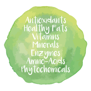 Antioxidants, healthy fats, vitamins, minerals, enzymes, amino acids, phytochemicals