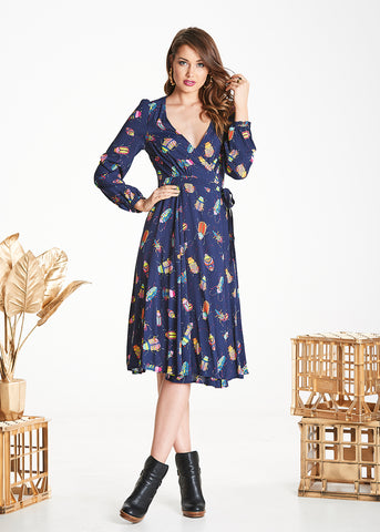 Navy Bug Mabel Wrap Dress