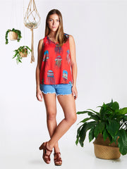 Red Jellyfish Frankie Top