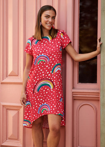 Red Rainbow Trixie Dress