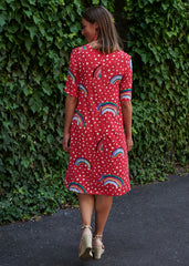 Red Rainbow Grace Dress