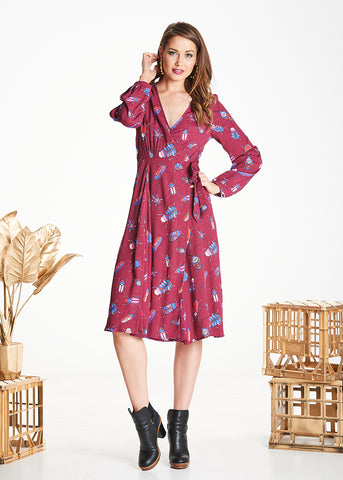 Burgundy Bugs Mabel Wrap Dress