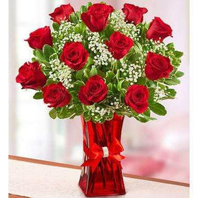 Blooms N Roses Flowers & Gifts Flowers Blooming Love 12 Premium Red Roses in Red Vase