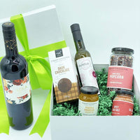 GIVOPOLY Gift Basket Red Urban Gourmet Local Foodie Box with Wine
