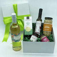 GIVOPOLY Gift Basket White Urban Gourmet Local Foodie Box with Wine