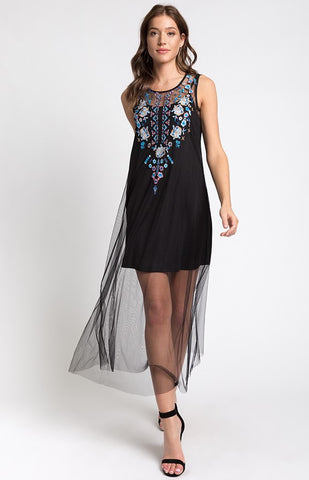 Layered Dress with Embroidered Bodice