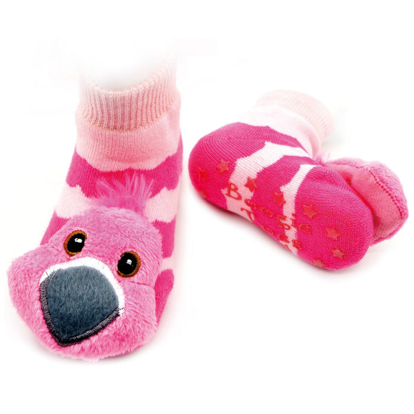 Boogie Toes Rattle Socks - Pink Flamingo